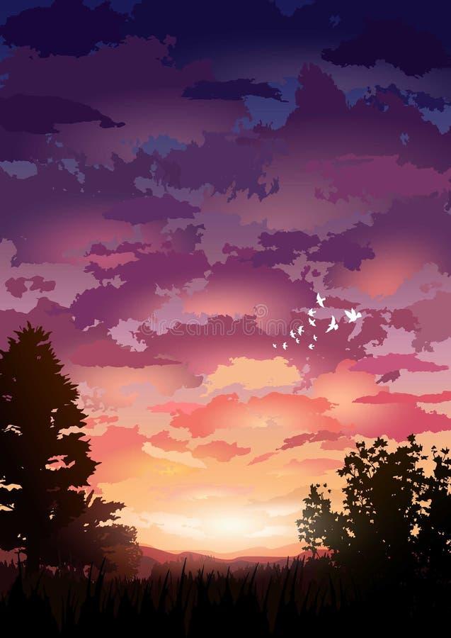 Διάνυσμα τοπίων ηλιοβασιλέματος διανυσματική απεικόνιση
