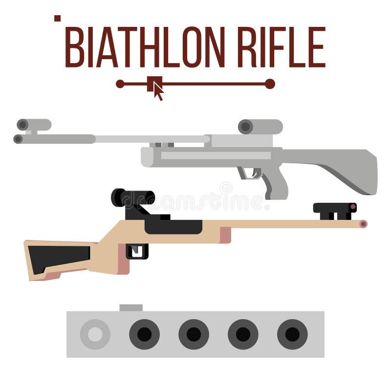 Διάνυσμα τουφεκιών Biathlon Εξοπλισμός και στόχος αθλητικών πυροβόλων όπλων Χειμερινός αγώνας Απομονωμένη επίπεδη απεικόνιση ελεύθερη απεικόνιση δικαιώματος
