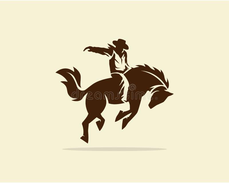 Διάνυσμα του κάουμποϋ που οδηγά το άγριο άλογο ελεύθερη απεικόνιση δικαιώματος