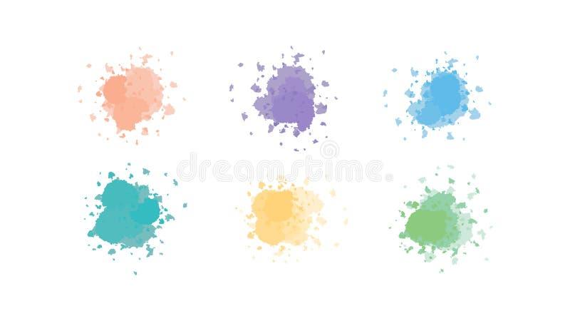 Διάνυσμα του μελανιού splat στα χρώματα διανυσματική απεικόνιση