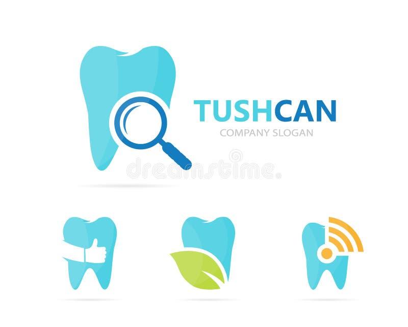 Διάνυσμα του συνδυασμού δοντιών και loupe λογότυπων Οδοντικός και ενισχύοντας - σύμβολο ή εικονίδιο γυαλιού Μοναδική κλινική και  ελεύθερη απεικόνιση δικαιώματος