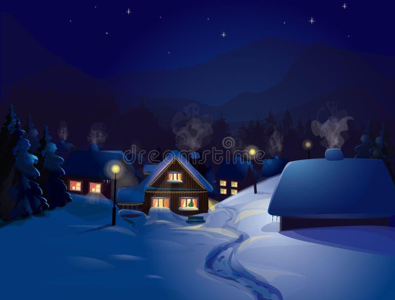 Διάνυσμα του χειμερινού τοπίου. Χαρούμενα Χριστούγεννα! απεικόνιση αποθεμάτων