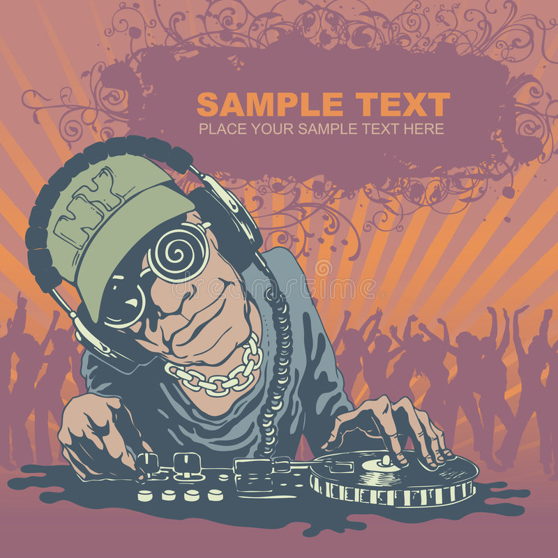 διάνυσμα του DJ ανασκόπησης grunge διανυσματική απεικόνιση