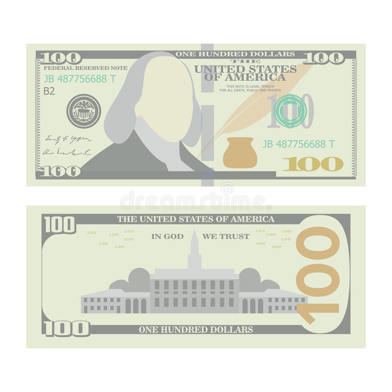 Διάνυσμα τραπεζογραμματίων 100 δολαρίων Αμερικανικό urrency κινούμενων σχεδίων Δύο πλευρές της αμερικανικής απομονωμένης ο Μπιλ α διανυσματική απεικόνιση