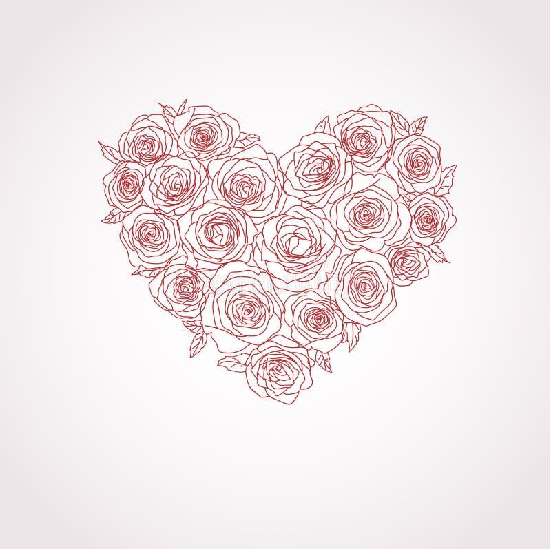 διάνυσμα τριαντάφυλλων καρδιών διανυσματική απεικόνιση