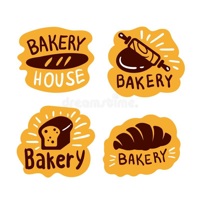 Διάνυσμα τροφίμων λογότυπων καταστημάτων σπιτιών αρτοποιείων ελεύθερη απεικόνιση δικαιώματος