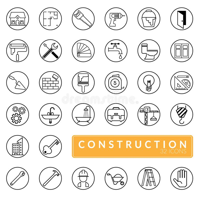 Διάνυσμα των εικονιδίων κατασκευής περιλήψεων καθορισμένων κτήριο, οικοδόμηση, εγχώρια επισκευή και εργαλεία ανακαίνισης ελεύθερη απεικόνιση δικαιώματος