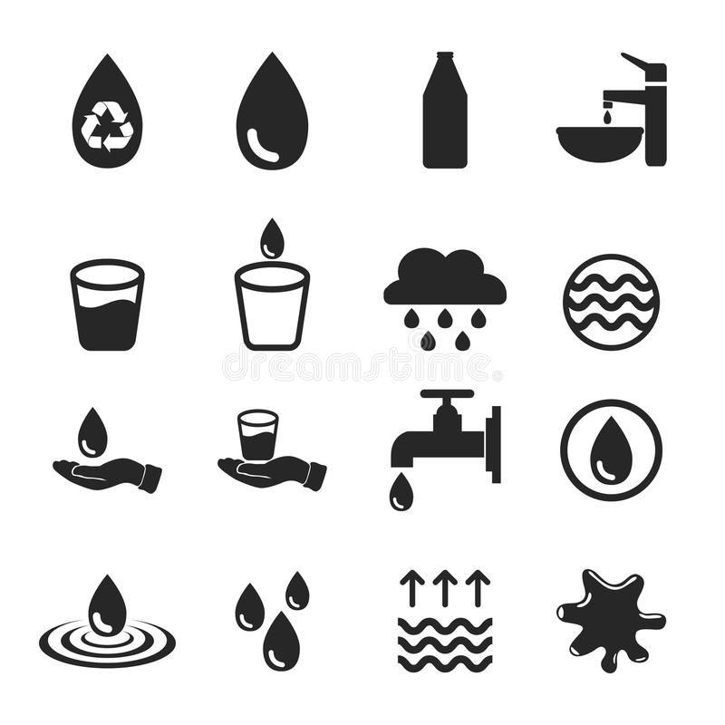 Διάνυσμα των εικονιδίων νερού που τίθενται στο άσπρο υπόβαθρο ελεύθερη απεικόνιση δικαιώματος