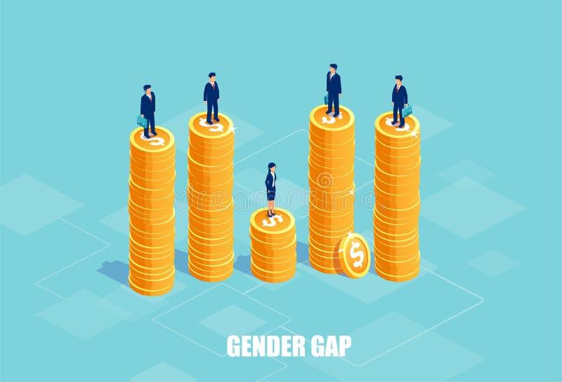 Διάνυσμα των επιχειρηματιών και της επιχειρηματία στους σωρούς των νομισμάτων του διαφορετικού ύψους διανυσματική απεικόνιση