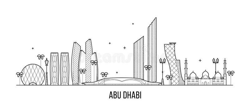 Διάνυσμα των Ηνωμένων Αραβικών Εμιράτων Ε.Α.Ε. οριζόντων του Αμπού Ντάμπι ελεύθερη απεικόνιση δικαιώματος