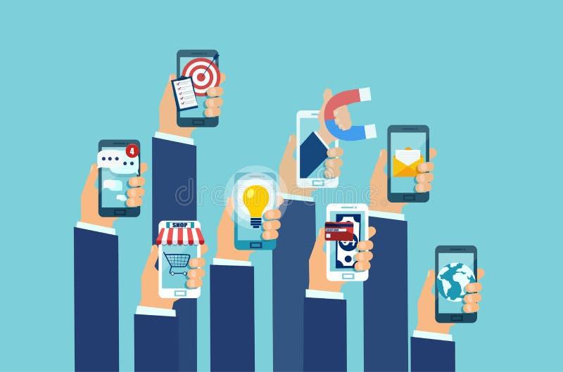 Διάνυσμα των πολλαπλάσιων χεριών που κρατά smartphones με κινητές εφαρμογές απεικόνιση αποθεμάτων