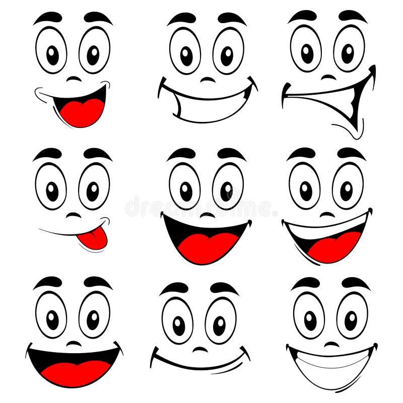 Διάνυσμα των προσώπων χαμόγελου συνόλου διανυσματική απεικόνιση