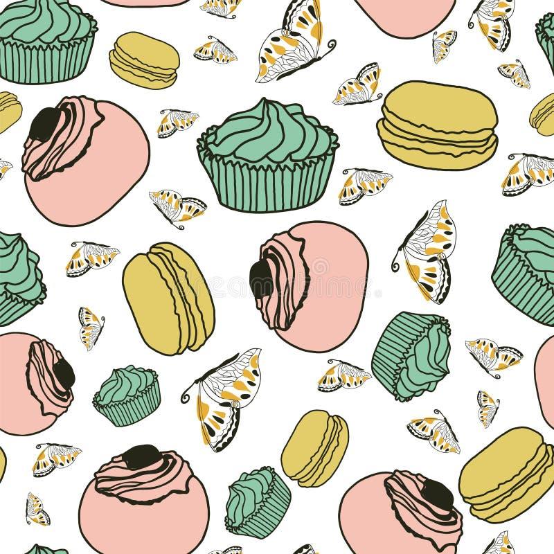 Διάνυσμα υποβάθρου κέικ και πεταλούδων διανυσματική απεικόνιση