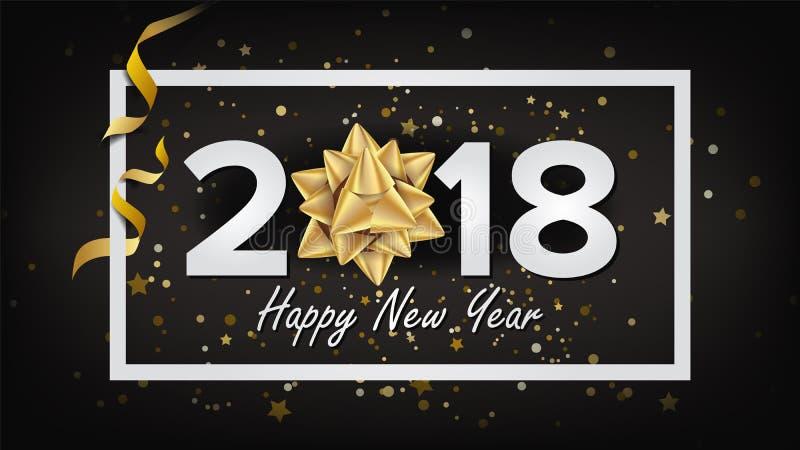Διάνυσμα υποβάθρου 2018 καλής χρονιάς Ρεαλιστικό τόξο χαιρετισμός Χριστουγέννων καρτών Σύγχρονη νέα αφίσα έτους, φυλλάδιο, ιπτάμε διανυσματική απεικόνιση