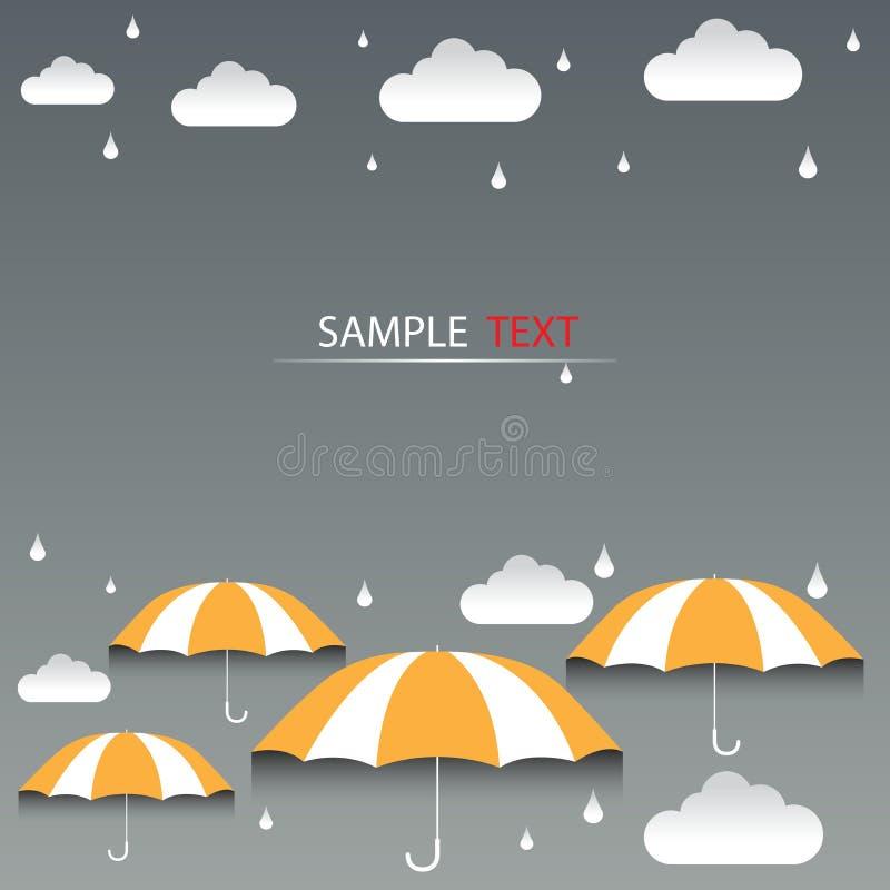 Διάνυσμα υποβάθρου πορτοκαλιών και βροχής ομπρελών ελεύθερη απεικόνιση δικαιώματος