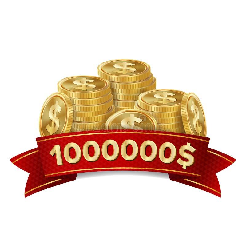 Διάνυσμα υποβάθρου χαρτοπαικτικών λεσχών νικητών τζακ ποτ Χρυσός θησαυρός νομισμάτων Τυχερό πρότυπο συμβόλων σημαδιών νικητών ελεύθερη απεικόνιση δικαιώματος