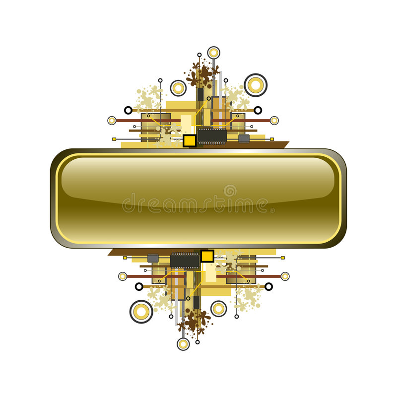 διάνυσμα υψηλής τεχνολογίας κουμπιών εμβλημάτων grunge απεικόνιση αποθεμάτων