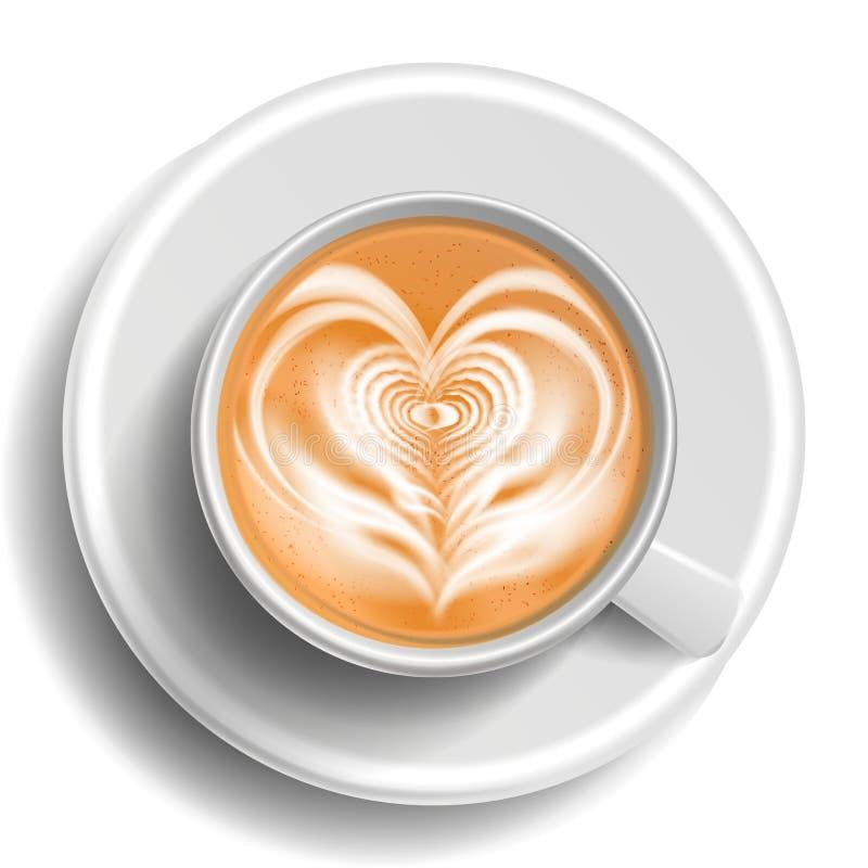 Διάνυσμα φλυτζανιών τέχνης καφέ Τοπ όψη Καρδιά Καυτός καφές cappuchino λευκό κουπών απεικόνιση απεικόνιση αποθεμάτων