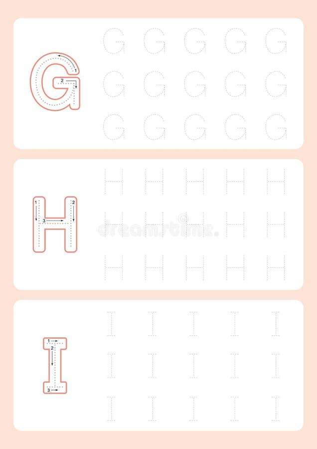 Διάνυσμα φύλλων εργασίας ιχνών αλφάβητου φύλλων εργασίας επιστολών επισήμανσης παιδικών σταθμών απεικόνιση αποθεμάτων