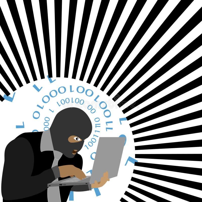 Διάνυσμα - χάκερ με τον υπολογιστή που φορά balaclava διανυσματική απεικόνιση