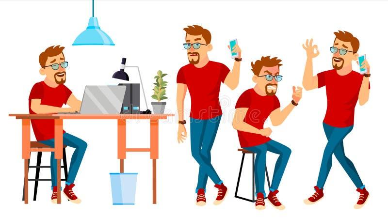 Διάνυσμα χαρακτήρα επιχειρησιακών ατόμων Εργαζόμενο αρσενικό Διαδικασία περιβάλλοντος Ξεκίνημα φορέων Περιστασιακά ενδύματα εργαζ απεικόνιση αποθεμάτων