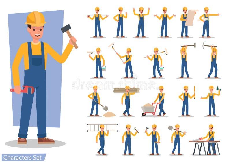 Διάνυσμα χαρακτήρα εργατών οικοδομών απεικόνιση αποθεμάτων