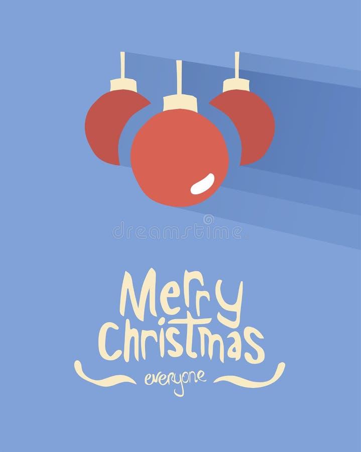 Διάνυσμα Χαρούμενα Χριστούγεννας με τα μπιχλιμπίδια απεικόνιση αποθεμάτων