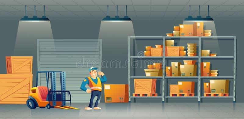 Διάνυσμα χαρτοκιβωτίων εργαζομένων αποθηκών εμπορευμάτων επιχείρησης αποστολών ελεύθερη απεικόνιση δικαιώματος