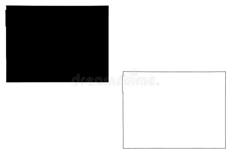 Διάνυσμα χαρτών κομητειών Modoc, Καλιφόρνια διανυσματική απεικόνιση