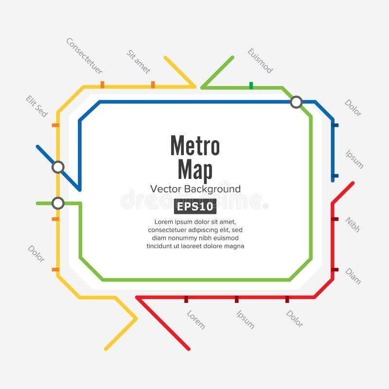 Διάνυσμα χαρτών μετρό Φανταστικό σχέδιο δημόσιων συγκοινωνιών πόλεων Ζωηρόχρωμο υπόβαθρο με τους σταθμούς διανυσματική απεικόνιση