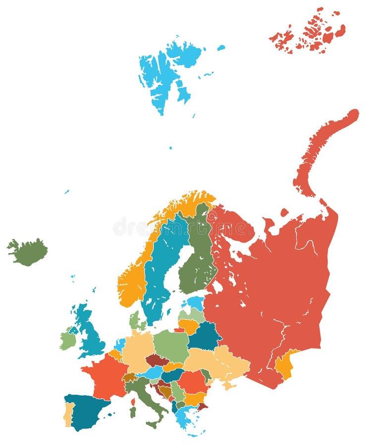 Διάνυσμα χαρτών της Ευρώπης ζωηρόχρωμο ελεύθερη απεικόνιση δικαιώματος