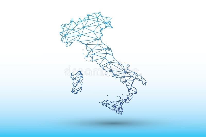 Διάνυσμα χαρτών της Ιταλίας των μπλε γεωμετρικών συνδεδεμένων γραμμών χρώματος που χρησιμοποιούν τα τρίγωνα στην ελαφριά απεικόνι διανυσματική απεικόνιση