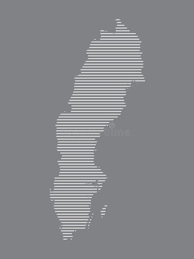 Διάνυσμα χαρτών της Σουηδίας με τις απλές ευθείες γραμμές στο μαύρο υπόβαθρο ελεύθερη απεικόνιση δικαιώματος