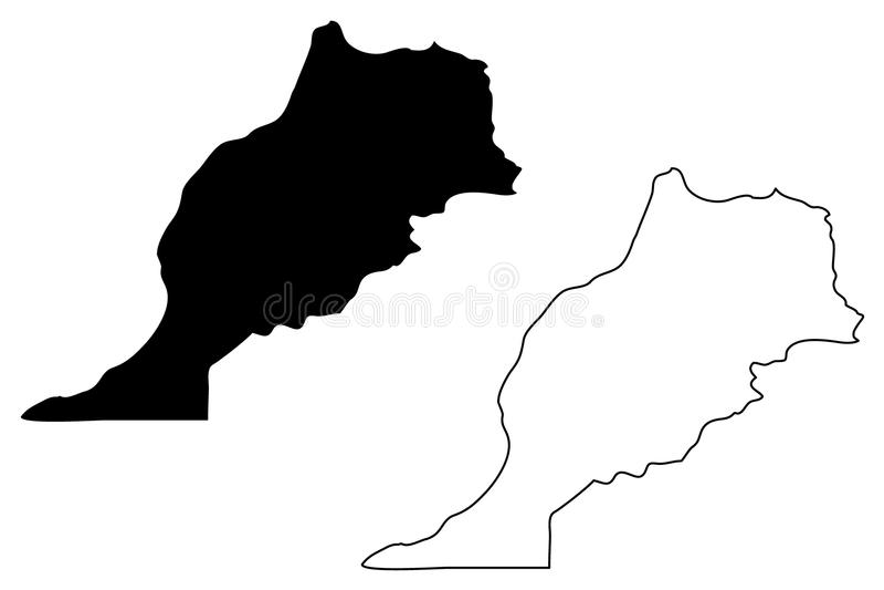 Διάνυσμα χαρτών του Μαρόκου ελεύθερη απεικόνιση δικαιώματος