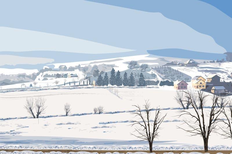 Διάνυσμα χειμερινών αγροτικό τοπίων Μικρά χωριό και μέρος των απεικονίσεων υποβάθρου χιονιού διανυσματική απεικόνιση