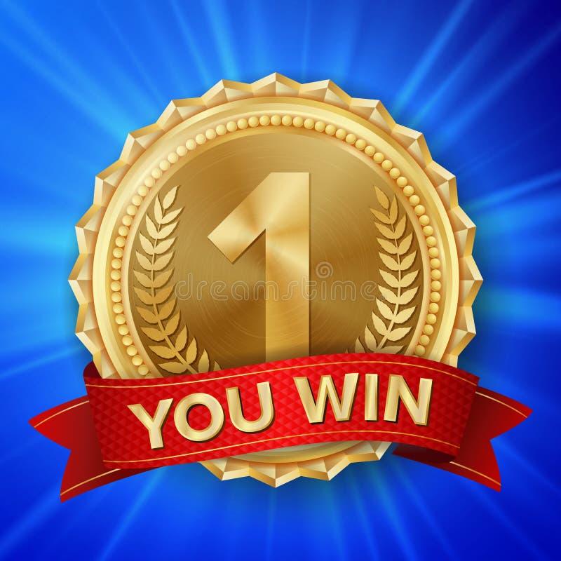 Διάνυσμα χρυσών μεταλλίων Στρογγυλή ετικέτα πρωταθλήματος Βραβείο τιμής νικητών τελετής κόκκινη κορδέλλα ballons απεικόνιση ρεαλι απεικόνιση αποθεμάτων