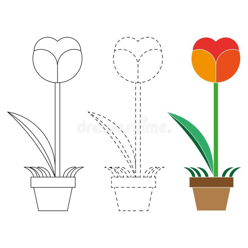 Διάνυσμα χρωματίζοντας βιβλίων λουλουδιών και διαστιγμένων γραμμών διανυσματική απεικόνιση