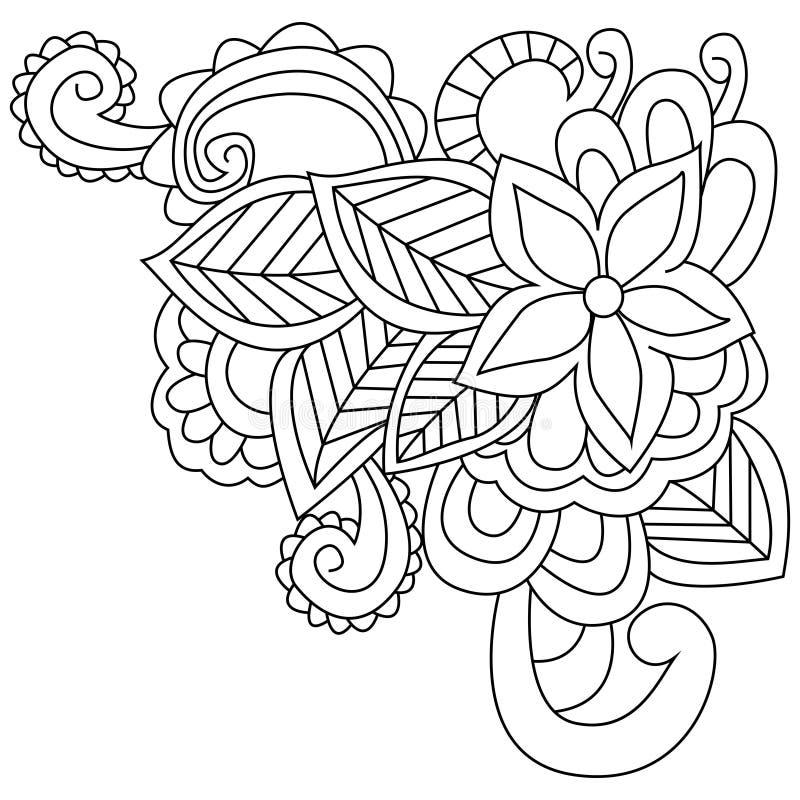 Διάνυσμα χρωματισμού λουλουδιών για τους ενηλίκους διανυσματική απεικόνιση