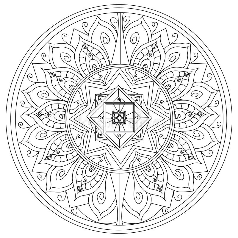 Διάνυσμα χρωματισμού λουλουδιών Mandala για τους ενηλίκους διανυσματική απεικόνιση