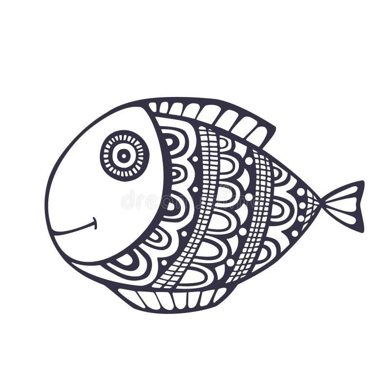 Διάνυσμα ψαριών Doodle απεικόνιση αποθεμάτων