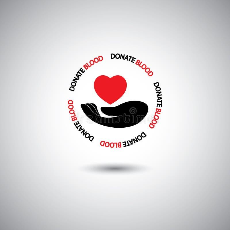 Διάνυσμα δωρεάς αίματος - χέρι & κόκκινο εικονίδιο καρδιών ελεύθερη απεικόνιση δικαιώματος
