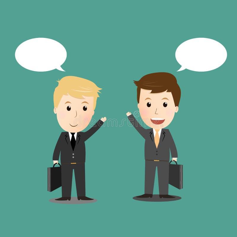 Διάνυσμα δύο επιχειρηματιών που συζητούν για την επιχείρηση ελεύθερη απεικόνιση δικαιώματος