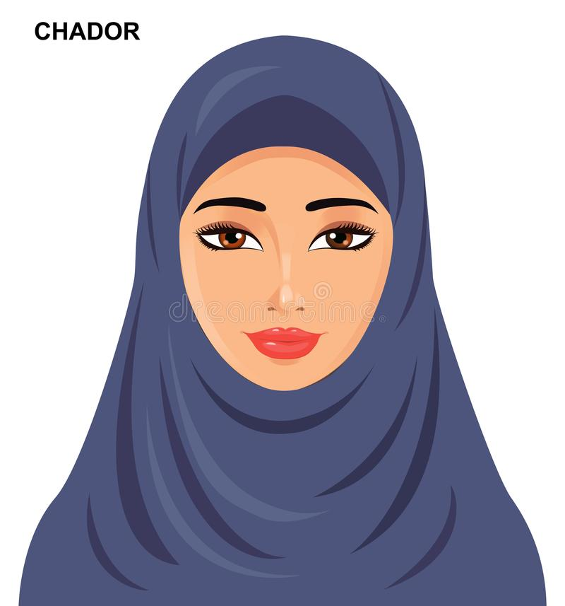 Διάνυσμα - ύφος καλυμμάτων τσαντόρ, όμορφη αραβική μουσουλμανική γυναίκα - διανυσματική απεικόνιση