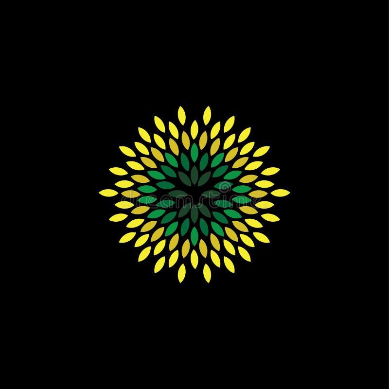 Διάνυσμα ύφους λουλουδιών των πράσινων εικονιδίων φύλλων που τακτοποιούνται ως κύκλος - ε ελεύθερη απεικόνιση δικαιώματος
