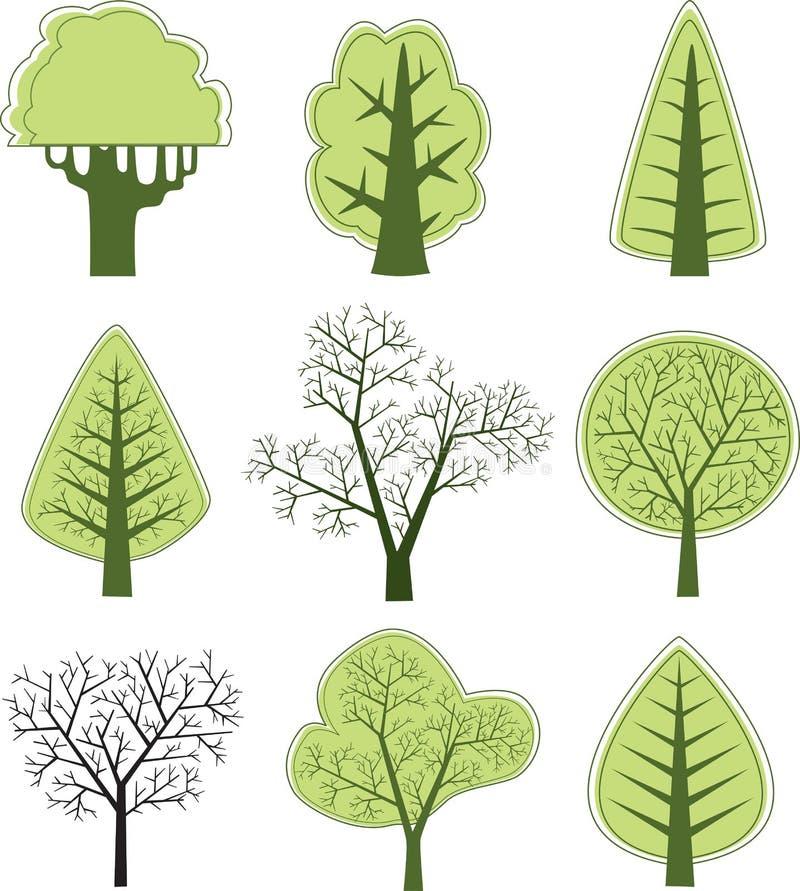 διάνυσμα 2 δέντρων διανυσματική απεικόνιση