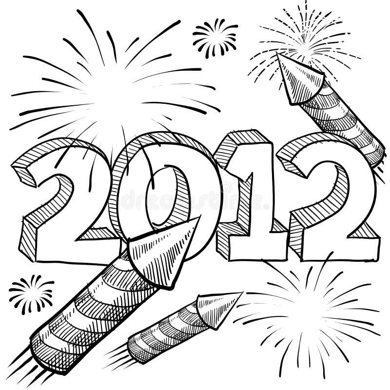 διάνυσμα 2012 πυροτεχνημάτων διανυσματική απεικόνιση