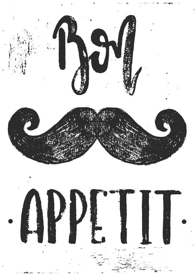 Διάνυσμα bon appetit moustache ελεύθερη απεικόνιση δικαιώματος