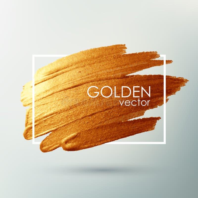 Διάνυσμα brushstroke Κηλίδα με μια καλλιτεχνική βούρτσα Χρυσή σύσταση grunge σε ένα πλαίσιο απεικόνιση αποθεμάτων