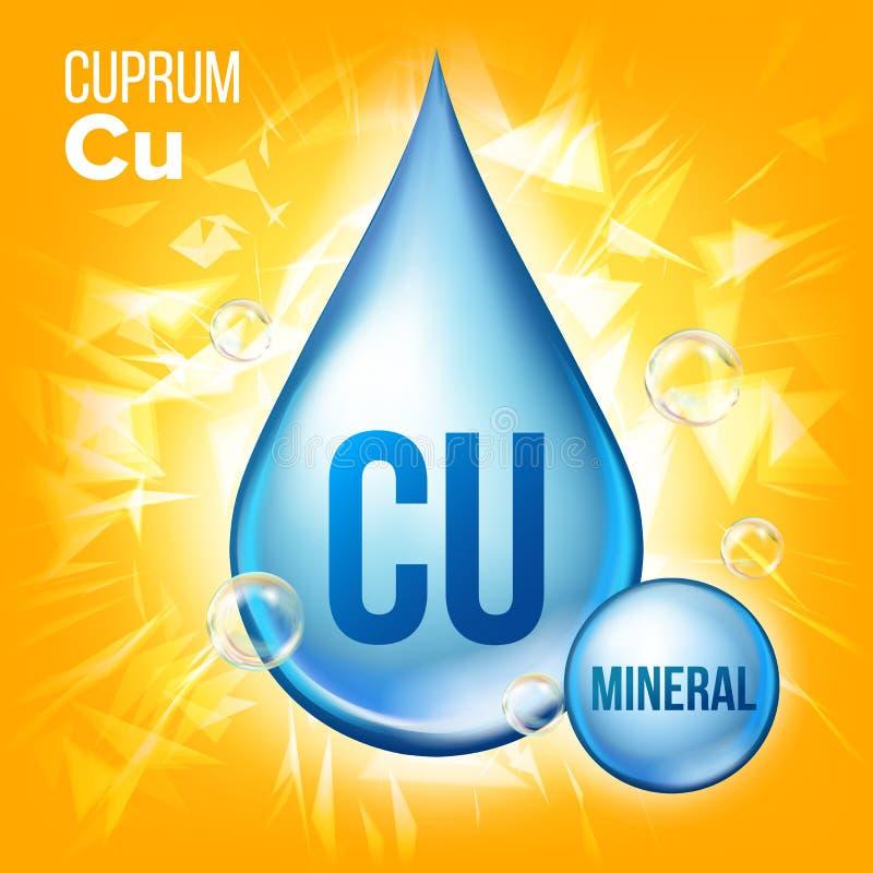Διάνυσμα $cu Cuprum Ορυκτό μπλε εικονίδιο πτώσης Υγρό εικονίδιο σταγονίδιων βιταμινών Ουσία για την ομορφιά, καλλυντικό, αγγελίες απεικόνιση αποθεμάτων