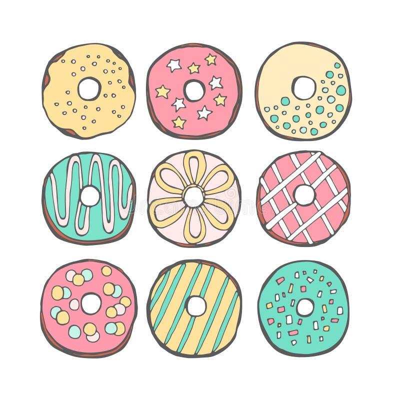 Διάνυσμα donuts χαριτωμένο απεικόνιση αποθεμάτων